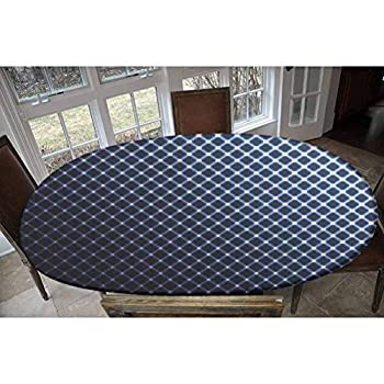 LCGGDB Elastic Polyester Fitted Table Cover,Diagonal Checkered Pattern Halftone Technology Inspired Modern Futuristic Decorative Oblong/Oval Dinner Fitted Table Cloth,Fits Tables up to 48  W x 68  L
