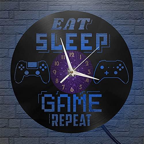 YH Fun Eat Sleep Game REPRAT Reloj de Pared de Vinilo, Reloj de Vinilo con Disco, Arte de Pared, Color Negro, 12 Pulgadas para Sala de Estar, Dormitorio (P), sin Ventiladores LED, Amantes de l