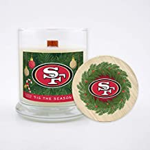 Worthy Promo NFL San Francisco 49ers Gifts 8oz Holiday Christmas Candle Soy Wax w/Wood Wick and Lid, Tis The Season