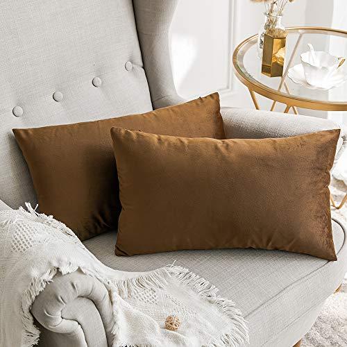 MIULEE Confezione da 2 Federe in Velluto Copricuscini Decorativi Fodere Quadrate per Cuscino per Divano Camera da Letto Casa30X50cm Cioccolato