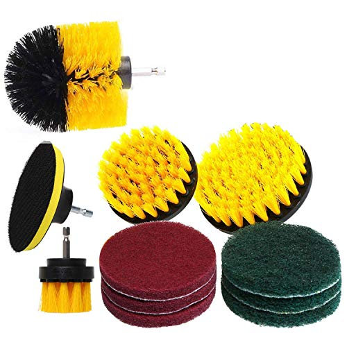 WY-YAN Set/12Piece Drill Brush and Scrub Pads, Power Drill Scrub Brush Attachments with Drill Bit Extender for Grout, Tiles, Sinks, Bathtub, Bathroom, Shower & Kitchen Surface