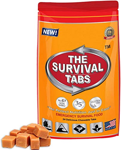 Survival Tabs 2 Day 24 Tabs Emergency Food Survival Food Meal Replacement MREs Gluten Free and Non-GMO 25 Years Shelf Life Long Term Food Storage - Butterscotch Flavor