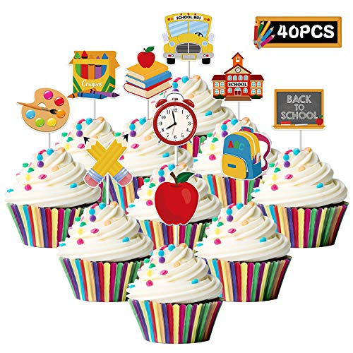 40PCS Back to School Cupcake Toppers - Welcome the First Day of School Party Decoration Supplies - School Activities Teacher Gift Classroom Decor