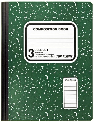 Top Flight 3-Subject Colored Marble Composition Book, 120 Sheets, Wide Rule, 9.75 x 7.5 Inches, 1 Book, Cover Color May Vary (43200)