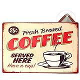 Grand Teint Vintage Plaque Métallique 20x30cm Poster En Métal Mural Plaque Décorative pour Cafe Bar Restaurant Pub, Série Café (Coffee Beige)