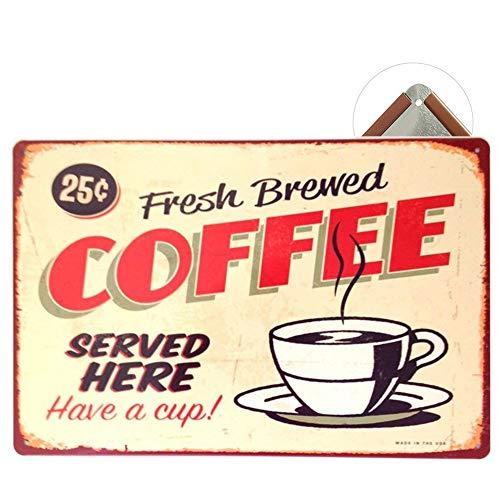 Cartel de chapa Vintage Placas Decorativas Póster Metal Pared Decoración de Arte para Cafe Bar Restaurante Pub Cocina, Serie de Café (Coffee Beige)