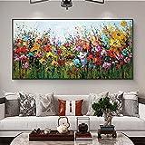HNGFV Cuadro de Pintura al óleo de Flores abstractas, póster Moderno, Pintura Impresa, Sala de Estar, Dormitorio, Arte de Pared, decoración, Pintura, 60x80 cm