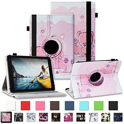NAUC Medion Lifetab P7331 P7332 E7331 Tablet Schutzhülle Tasche Standfunktion 360° Drehbar Robust Universal Farb und Motiv Auswahl, Farben:Motiv 2