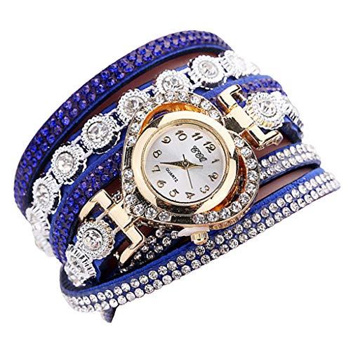 Harilla Pulsera De Cristal De Moda Reloj De Pulsera Elegante Reloj Multicapa Números Arábigos - Azul