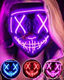 LED Light Up Halloween Mask, Scary Rave Glow LED Face Mask with 3 lighting Modes & El Wire for Costume&Cosplay Party. Adjustable&Eco-Friendly Material for Men Women Kid-PURPLE
