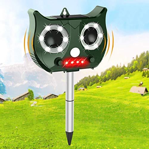 OUTERDO Katzenschreck Ultraschall Solar, wasserdichte Utraschall Abwehr mit eingebauter Lithiumbatterie und Blitz 5 Modus Einstellbar Tiervertreiber...