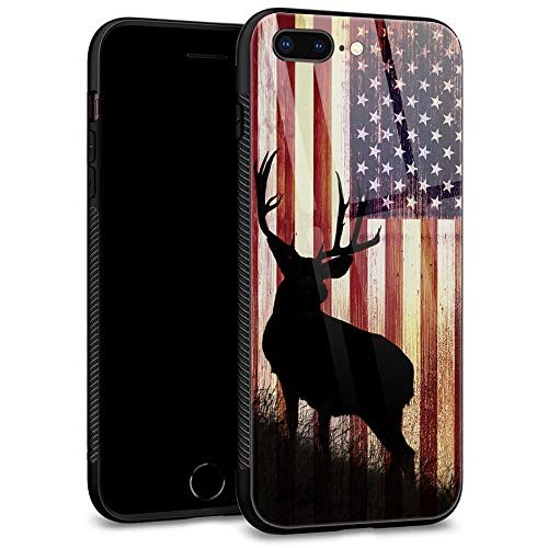 iPhone SE 2020 Case,American Deer for iPhone 8 Case,Men Boy iPhone 7 Cases,Tempered Glass Back Pattern with Soft TPU Bumper Case for Apple iPhone 7/8/SE2 Case 4.7-inch American Deer