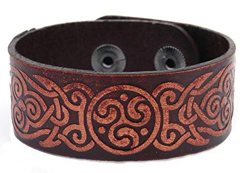 Leder-Armband mit irischem Triskel-Motiv, Spiralen-Symbole, Armreifen für Damen und Herren