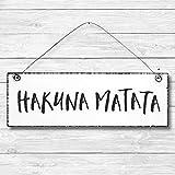 Hakuna Matata - Dekoschild Türschild Wandschild aus Holz 10x30cm - Holzdeko Holzbild Deko Schild