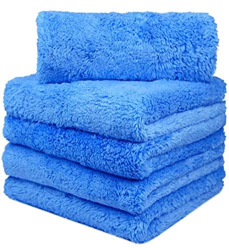 Auto trockentuch Mikrofasertücher Auto Reinigungstuch extrem saugstark und schonend weich - fusselfreie Poliertücher für die Pflege von Auto und Motorrad 40 x 40 cm (5) Blau