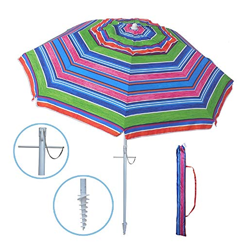 YATIO-7ft Beach Umbrella with Sand Anchor Sand Screw, Tilt, Telescopic Pole, Windproof, Sun Protection SPF/UPF100+, Multi-Color Stripe