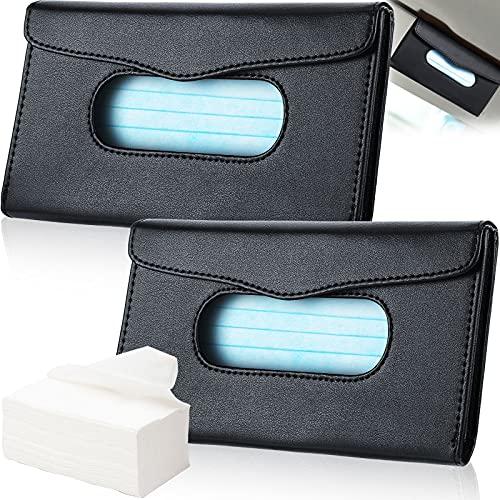 2 Pieces Car Tissue Holder Sun Visor Napkin Holder Pu Leather Tissue Box Holder Car Visor Tissue Storage Cases for Universal Cars (Black)