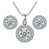 Harlorki Women's Silver Alloy Metal Rhinestone Crystal Wedding Necklace Earrings Pendent Charm Jewelry Set