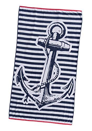 P.K. Collection XXL Strandtuch Strandhandtuch 100x180 cm Velours Strandlaken (Anker)