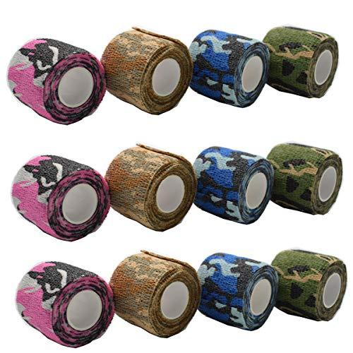 Vendaje Camuflaje,DANCEPANDAS 12 piezas adhesivo autoadhesivo vendas en elástico,Fijación Vendajes(5 * 4.5 cm)