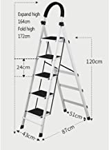 Stepladder /Échelle robuste pliante portative en acier /à 3 marches // 4 marches // 5 marches escabeau /à usage domestique escabeau pliant en m/étal for escabeau repose-pieds antid/érapant