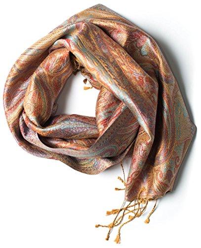 Pashmina bufanda de 100% seda de la India para hombres y mujeres, patrón cachemir/paisley, 160 x 35 cm - pañuelo de seda pura, marrón