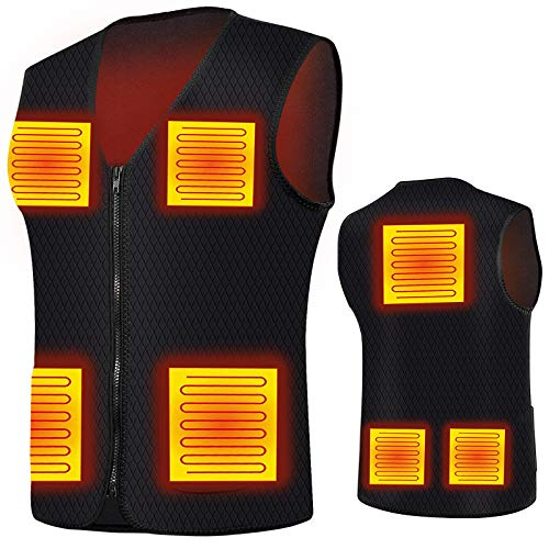 Heated Vest for Men/Women,Electric Heated Jacket with 7 Heating Panels, Heating Vest Washable For Skiing,Fishing(L,No Battery Included)