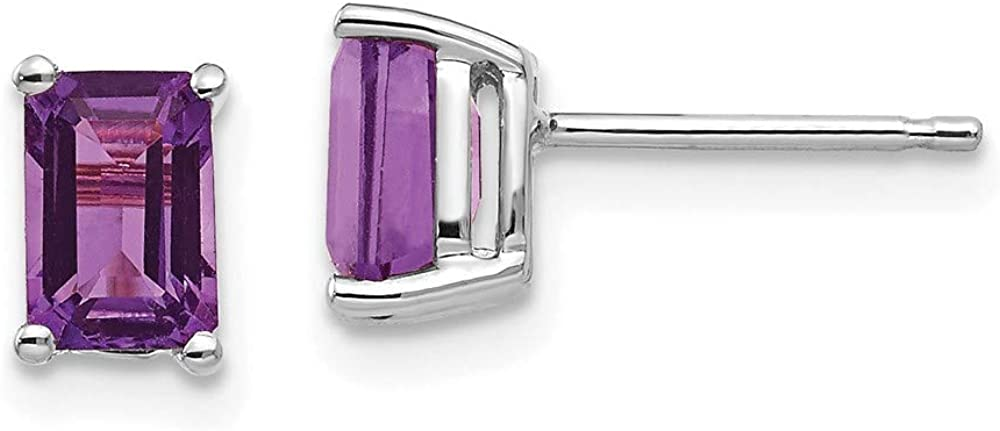 14k White Gold 6x4mm Purple Amethyst Post Stud Earrings Birthstone February Gemstone Fine Jewelry For Women Gifts For Her