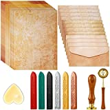 33 Pieces Vintage Paper and Envelopes Set, Including 12 Writing Stationery Paper Letter 12 Envelopes Sealing 6 Wax Sticks Seal Stamp Tea Candles and Wax Spoon for Envelope Stamp