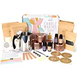 Soy Candle Making Kit for Beginners I Four Large Scented Candles   Tutorial + Soy Wax Candle Making Supplies   Rose Gold Jars, Crackling Wooden Wicks, Beautiful Crafting Kits for Adults