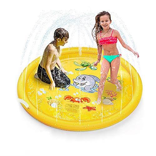 VeroMan 子供用 プール 直径170cm 噴水 ホースに繋ぐだけ 水遊び プレイマット 庭 シャワー 幼児 イエロー