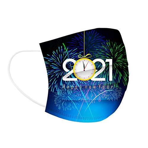 JMNy Erwachsene Einweg Mundschutz Multifunktionstuch, 3-lagig 2021 Neujahrsfeuerwerk Gedruckt Maske,Weiche Staubdicht Atmungsaktive Vlies Mund-Nasenschutz Bandana Halstuch