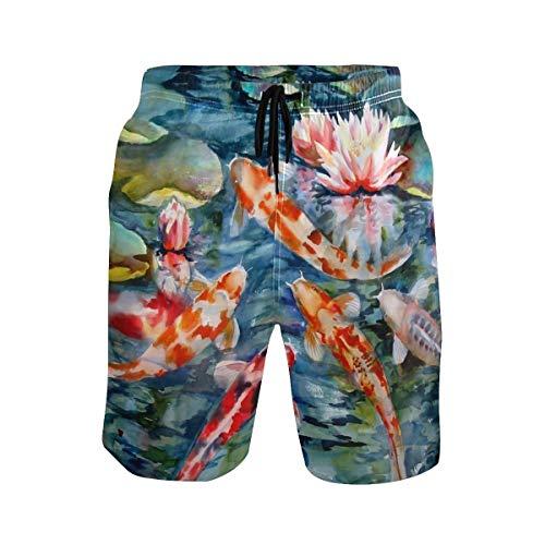 MONTOJ Pantalones cortos japoneses de peces koi con flores loctus para playa, para hombre, cordón ajustable