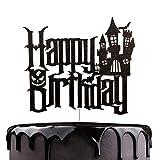 Cartoon Happy Birthday Cake Topper - Spooky Haunted House Black...