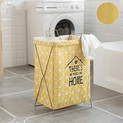 Algodón Lino Cesta de lavandería Cesta de almacenamiento, Soporte de tela Cesta de la cesta Cesta sucia Ropa de almacenamiento Bolsa (Color : Yellow)