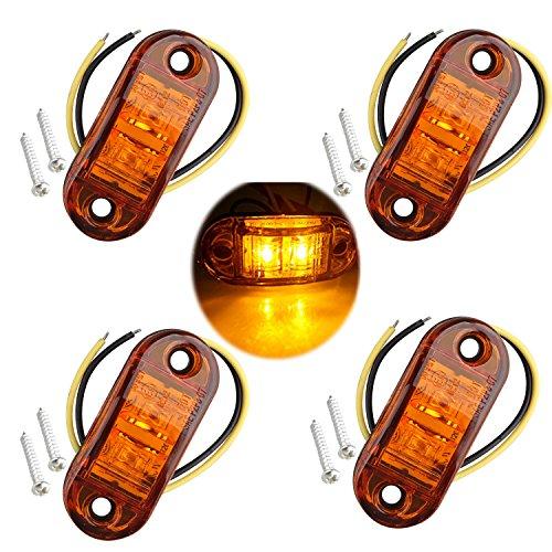 Futheda 4 pcs IP65 12 V/24 V Ovale LED latérales Feux de gabarit Avant Feux arrière Lampes Universel Indicateur de Position avec Ambre Ampoules pour Camion remorque Van de Voiture Bus Bateaux