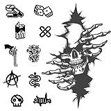 CARGEN® PequeñO Tatuaje Temporal Realista Calavera Gato Flor Tatuaje Temporal Pecho Pecho Dedo Cara Tatuaje Falso Pegatinas Papel De Transferencia De Luna Y Sol Para Hombres Mujeres