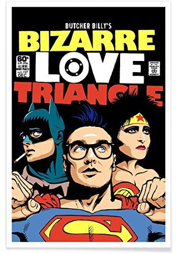 Juniqe® Affiche 80x120cm Batman Pop Art - Design Bizarre Love Triangle (Format : Portrait) - Poster, Tirages d'art & Tableaux par des Artistes indépendants créé par Butcher Billy