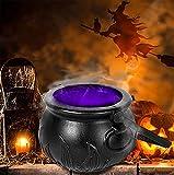 Halloween Witch Pot Smoke Machine Mist Maker, con 12 luces LED que cambian de color, Fiesta de Halloween Mist Maker Fogger Fuente de agua Estanque Máquina de niebla, Party Prop Halloween DIY Decoracio