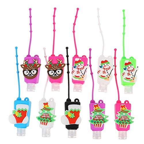 Cabilock 10 Stücke Kinder Reiseflaschen Schlüsselanhänger Silikon Weihnachten Figuren Flip Cap Flasche 30ml Leere Seifenspender Duschgel Reisebehälter für Shampoo Handgel(Zufällig)
