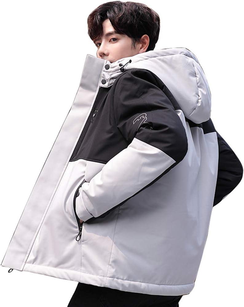 Down jacket Men's Short, Thicken Hooded Jacket, Outdoor Winter Clothing, Filler: 90% White Duck Down (Beige, Black, red, Blue)