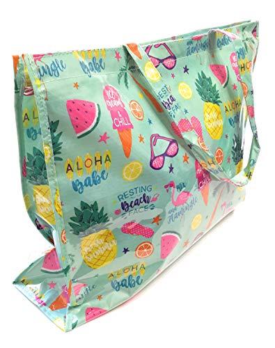BRANDELIA Bolso Grande Plástico Playa Compras Mujer Bolso Impermeable con Cremallera, Tutti Frutti