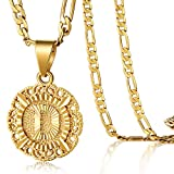 KissYan Initial Necklace for Women Girl,14K Gold Plated Round Letter Pendant Necklace Capital Monogram Necklace Alhpabets from A-Z Figaro Chain Necklace(Howllow Out D)