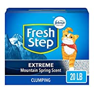 Fresh Step Extreme Scented Litter with the Power of Febreze, Clumping Cat Litter Mountain Spring, 20 Pounds