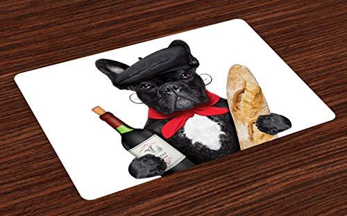 ABAKUHAUS Bulldogge Platzmatten, Französischer Hund in einem Hut mit Rotwein und Baguette Brot Gourmet Parisienne Animal, Waschbare Stoff Esszimmer Küche Tischdekorations Digitaldruck, Schwarz Rot