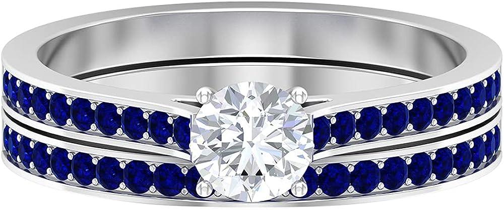 1 Tulsa Mall CT Diamond and Lab Created Set Ring Blue Heir El Paso Mall Bridal Sapphire