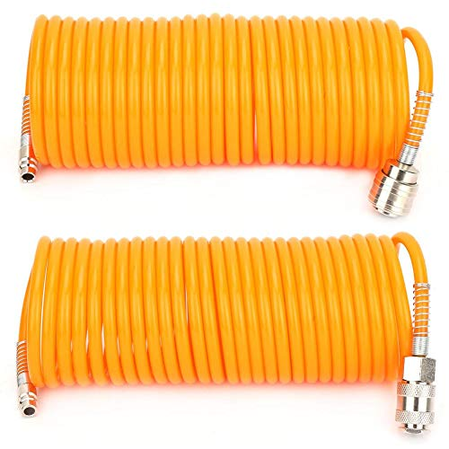 Manguera neumática de 7,5 m, tubo de manguera de compresor de aire neumático de PE flexible naranja, con conector rápido macho/hembra(German quick connect)