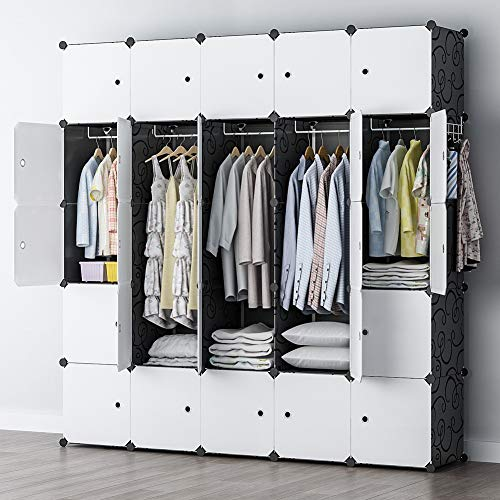 YOZO Modular Wardrobe Clothes Closet Plastic Dresser Multi-use Portable Cube Storage Organizer Bedroom Armoire, 25 Cubes, Depth 18 inches, Black