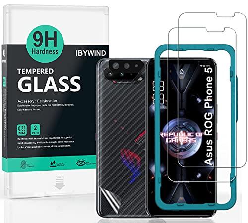 Ibywind Panzerglas für das Asus Rog phone 5/5 Pro/5s/5s Pro/5 Ultimate, [2 Stück] mit Kamera Schutzfolie(Schwarz), Carbon Fiber Skin für die Rückseite, Inklusive Easy Install Kit (Zentrierrahmen)