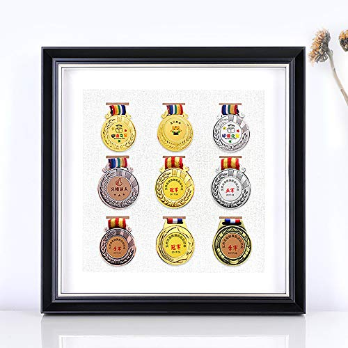 HUIJ Vetrina medaglie Montaggio a Parete Espositore per medaglie Box per medaglie Porta medaglie Running medaglie Display Display di Legno Medaglione per Cornice per Foto Stereo